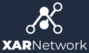 Xar Network official logo stacked white